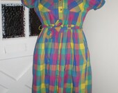 50% OFF SALE vintage Picnic Party BRIGHT plaid day dress with pockets sz. L