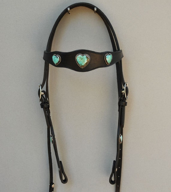 Natural Turquoise Heart Concho Headstall
