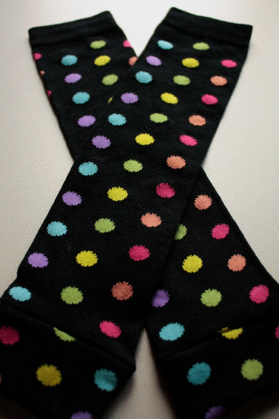 Black Baby Leggings with Rainbow Polka Dots