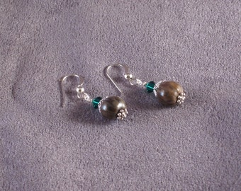 Natural Job's Tears earrings with green Swarovski crystals