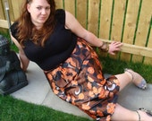 Vintage 70s floral skirt autumn colours UK 18 20 US 14 16 orange