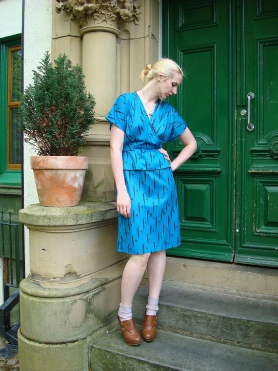 Vintage 80s dress animal print peplum UK 14 US 10 blue black