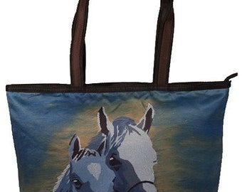 Horses Large Handbag or Horse Tote Bag - From my Original Oil Painting, A  Mother's Love