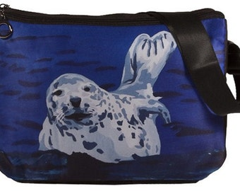 Seal Large Messenger Bag by Salvador Kitti - From My Original Painting, Playful Pup -   Support Wildlife Conservation, Read How - Sale