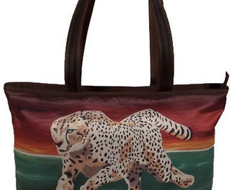 Cheetah Large Tote bag, by Salvador Kitti  From My Original Painting, Twillight Run -  Support Wildlife Conservation, Read How