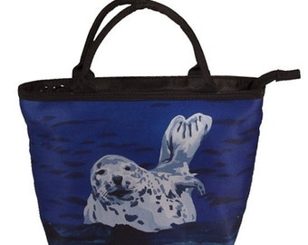 Harbor Seal Small Handbag, Seal Small Handbag - Support Wildlife Conservation,Read How - From My Painting, Playful Pup