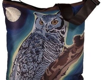 Great Horned Owl Small Cross Body Bag, Bucket Handbag by Salvador Kitti - From My Painting, The Wise One