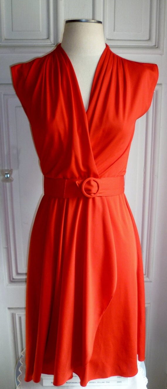 Vintage 70s Sexy Red Cocktail Dress- S/M