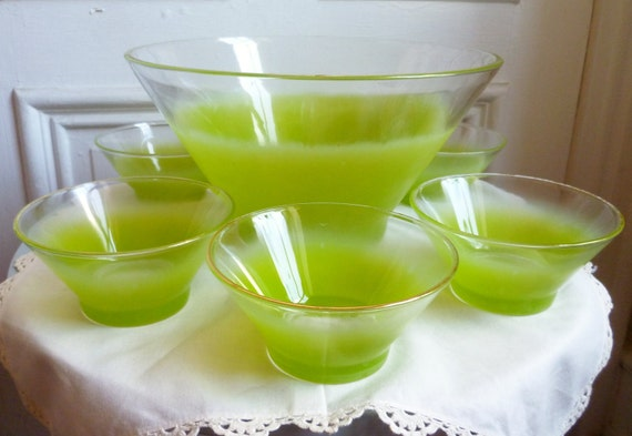 Vintage 60s Lime Green Blendo Salad Bowl Set