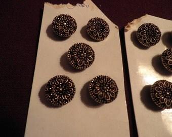 Vintage Schwandts Gold Metallic Buttons, NOS Buttons,  Vintage German 15 Matching Buttons, Vintage Sewing Supplies