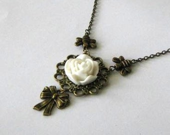 Bee necklace bow with white flower jewelry antique brass bronze victorian vintage style rose flower necklace