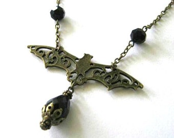 Goth bat necklace jewelry, black drop necklace, black teardrop bead, medieval vampire jewelry  antique brass bronze victorian style