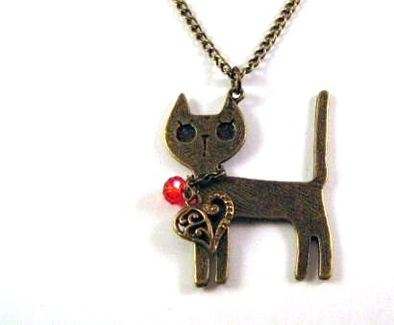 Cat necklace jewelry antique bronze brass cat pendant with heart charm necklace