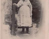 Antique Cabinet Photograph of Granny Smiling Standing in Her Yard