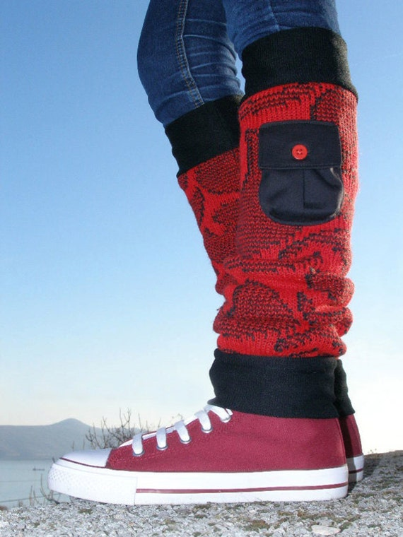 Red leg warmers - Wool leg warmers with small pockets - Recycled sweater leg warmers - Winter fashion
