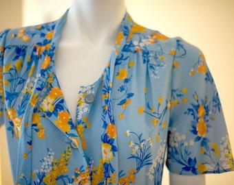 Vintage yellow floral print blue summer dress
