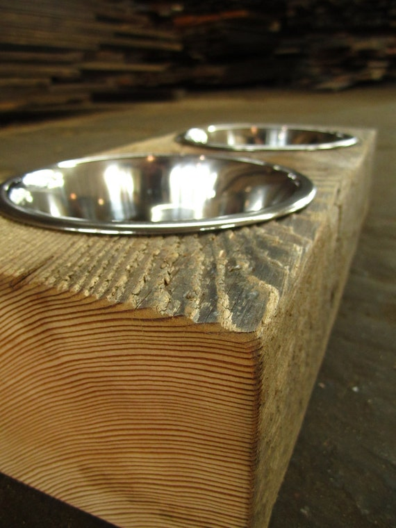 Wood Dog Dish Holder reclaimed beam 2 BOWL SMALL for Susan