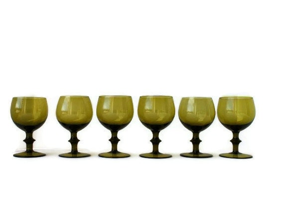 RESERVED for Charity - olive green goblets, hand-blown from Italy
