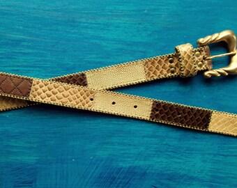 Snakeskin Belt patchwork leather beaded belt brown tan gold belt reptile skin southwestern style vintage 80s 90s women medium Elite