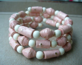 Pastel pink and white Paper bead bracelet and earrings set ~ Paper Bead Jewelry