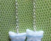 Flutter - blue and white stripe Czech glass butterflies and silver chain dangle earrings