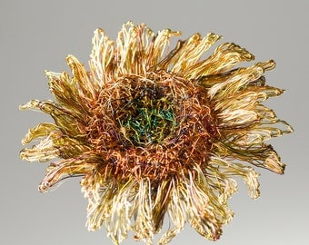 Sunflower brooch Sunflower jewelry Wire sculpture art Flower brooch jewelry Yellow brooch flower Big brooch  Ooak unique Wedding jewelry.