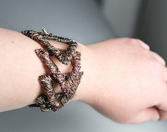 Triangle bracelet Copper Wire bracelet Statement jewelry Geometric bracelet Triangle jewelry Wearable Art Contemporary Alternative jewelry