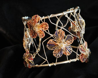 Flower bracelet Silver bangle bracelet Flower jewelry Wire bracelet Orange blue bracelet Art jewelry Floral jewelry Bridesmaid bracelet gift