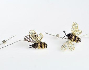 Bee earrings, bee jewelry, wire earring, long, hoop earring, insect art jewelry, unusual, boho, black gold, Christmas, unique gift for women