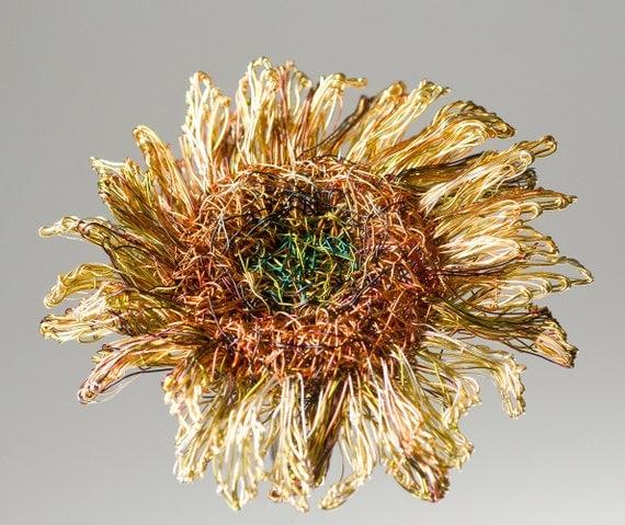 Sunflower brooch Sunflower jewelry Wire sculpture art Flower brooch jewelry Yellow brooch flower Big brooch  Ooak unique Wedding jewelry.