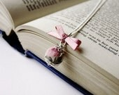 Pink fabric covered bead and satin ribbon bow necklace