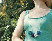Fabric flower necklace in blue, turquoise and purple
