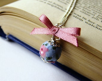 Blue and pink fabric covered bead and satin ribbon bow necklace