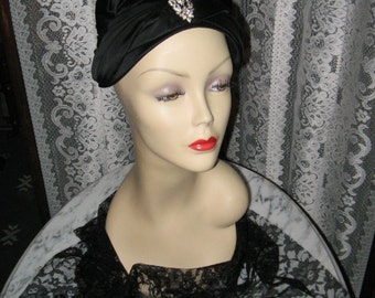 SALE LOVELY Vintage TURBAN Style Hat by Valerie Modes Black Satin 1940's, '60's
