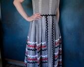 vintage dress gingham black and white rick rack full skirt sleeveless country barn dance from Diz Has Neat Stuff