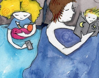 The Way We Sleep . Family Art Print . Co-Sleeping . Family Bed . Organic Art . Bedroom Decor