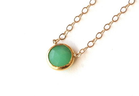 Pastel Green Pendant Necklace Gold