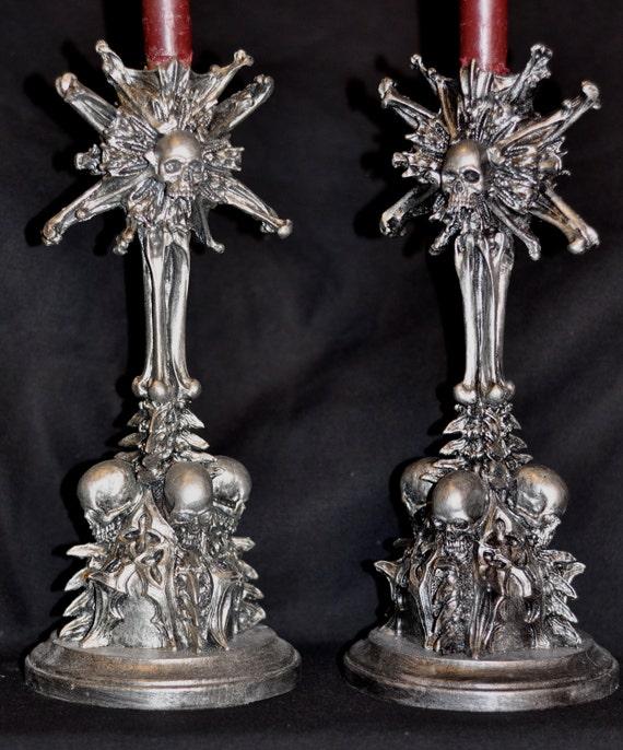 Requiem Monstrance candlestick holders, pair