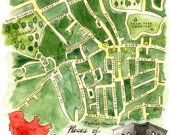 England Map-Stoke Newington-Archival Print