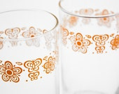 pyrex butterfly gold glasses set of two retro 60s 70s floral - usedandabused