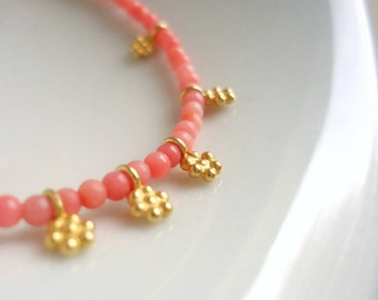 Angel Skin Coral Bracelet Skinny Jewelry Gemstone Jewellery Flower Charms Gold Everyday Stack Layer