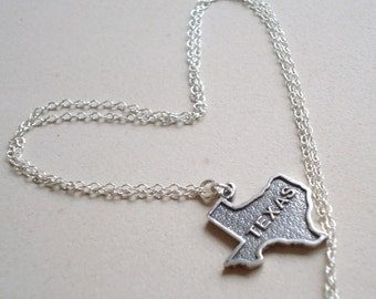 Texas Necklace - Sterling Silver Jewellery - Charm - State Jewelry - Pendant - Chain