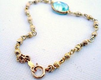 Blue Topaz Bracelet Gold Vermeil Jewelry December Birthstone Jewellery Wire Wrapped Fancy Chain Glam Dainty Jewel Tones B-124
