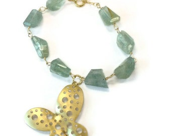 Aquamarine Bracelet - March Birthstone Jewellery - Gift - Butterfly Charm - Gold Jewelry - Gemstone - Extender Chain B-171
