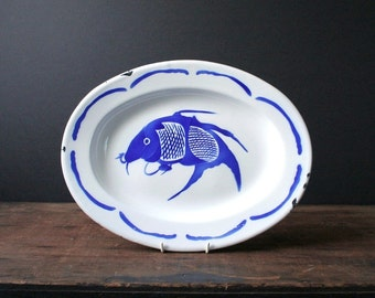 White enamel serving platter, Japanese carp plate, Asian decor