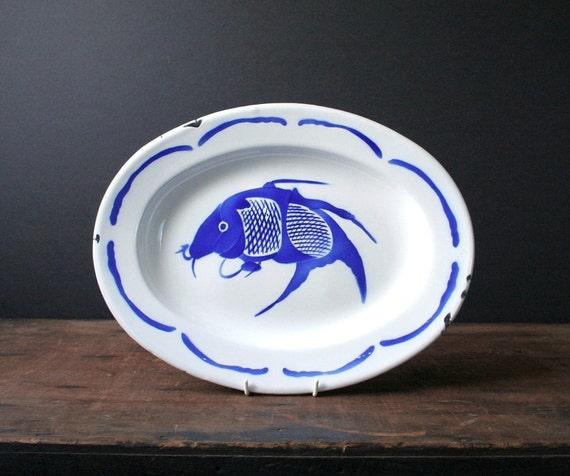 White enamel serving platter, Japanese carp plate, Asian decor
