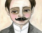 Albert - Victorian Gentleman Watercolor Portrait, Shop Owner, Man with Mustache, (6x8) Art Print