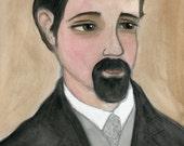 Benjamin - Victorian Portrait Illustration (6x8) Lonely Gentleman Doctor Goth Art Print