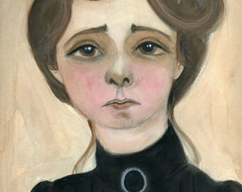 Maude Adams, Victorian Stage Actress, Watercolor Portrait,  (6x8) Art Print