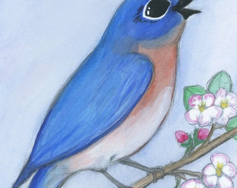 Bluebird Art Print, Watercolor Illustration (5x7) Nursery Wall Art